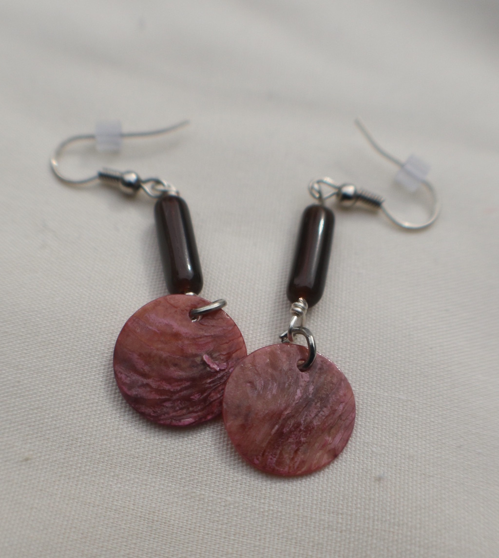 Pink Shell Brown Bead Earrings