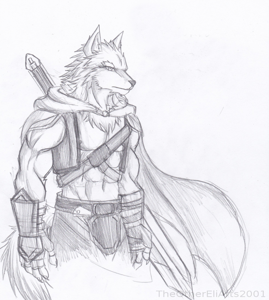 Armored Wolf guardian sketch..