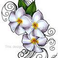 Plumeria 'Siam Lilac' tattoo design