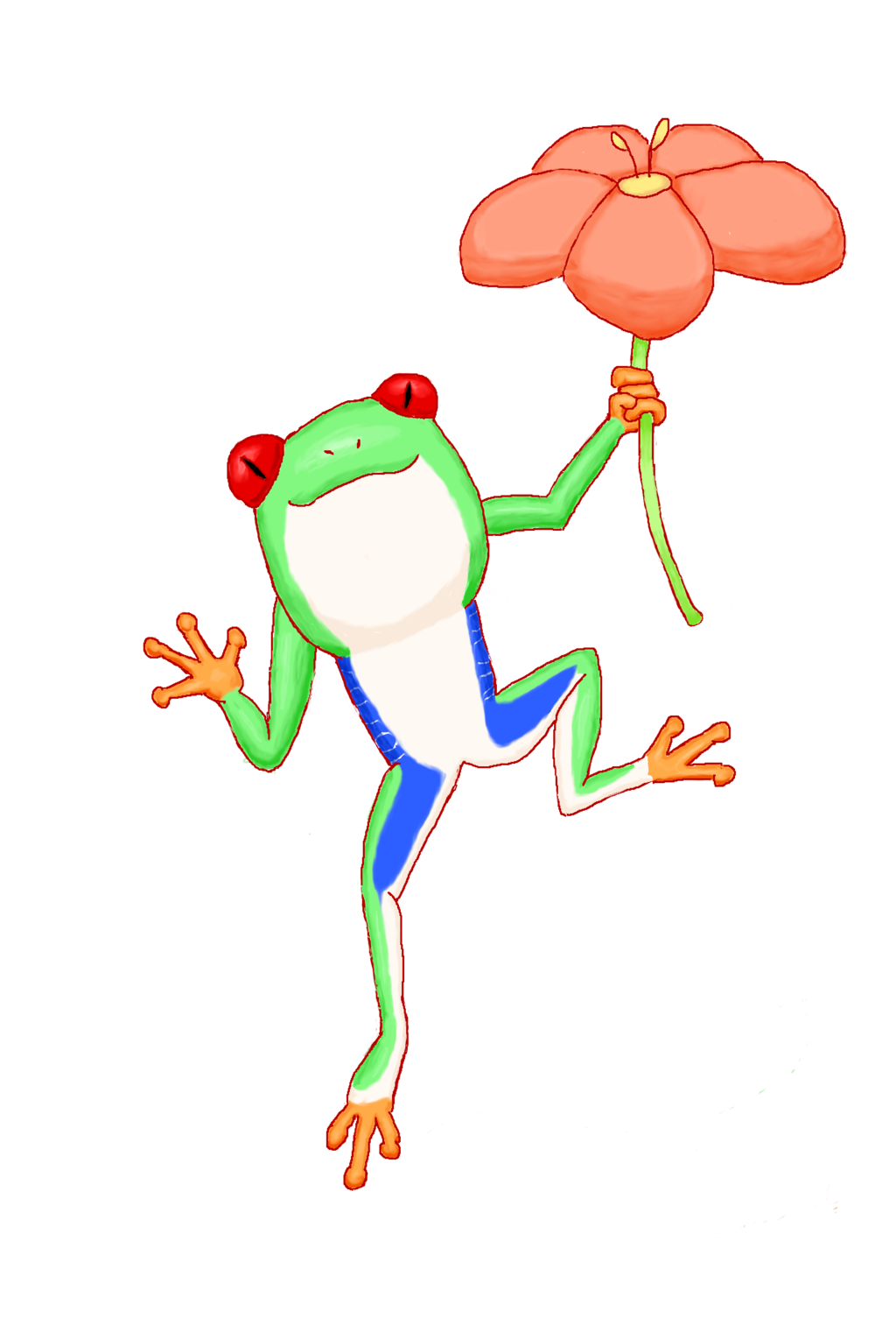 Red-Eyed Tree Frog and Flower