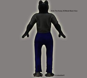 Duke the Husky 3D Model Back View