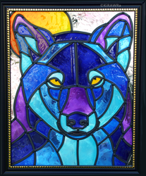 Wolf Moon Faux Stained Glass (Indoor)