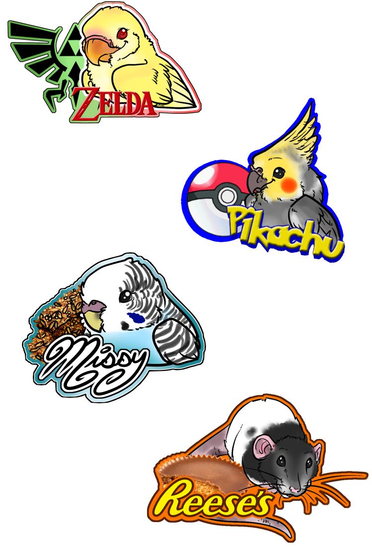 Pet Badges: Zelda, Pikachu, Reese's, and Missy!