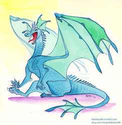 Blue Dragon watercolor