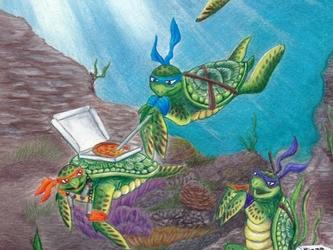 Ninja Sea Turtles Pizza Party