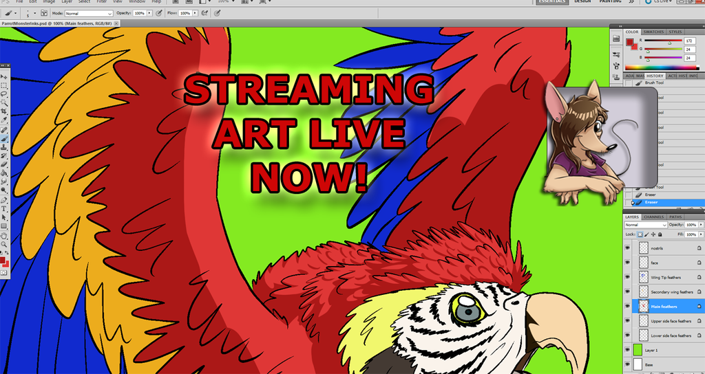 ART STREAM Shading Start for Video Game Monster: Parrot