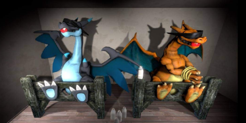 Mega Charizard X & Charizard Goats Tickle Licking Danger SFM