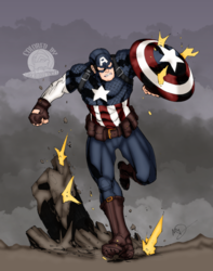 Captain America In Battle