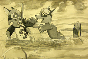 """""""Look what I found!"""" (grayscale version)"""
