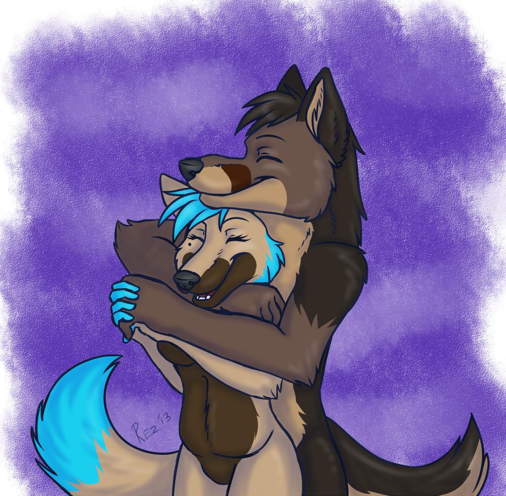 Wolf cuddles