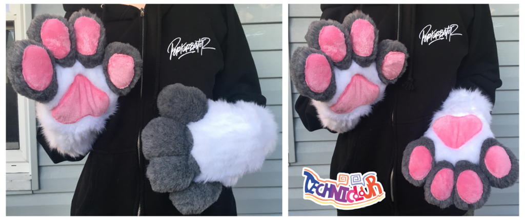 (FOR SALE) Gray and White Fursuit Handpaws With Pink Pawpads