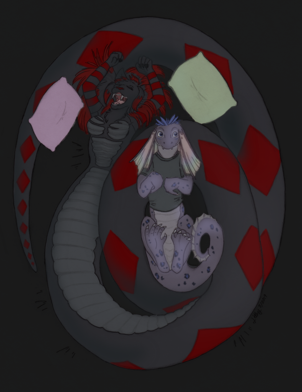Sleeping with a catsnake - art by Lithy