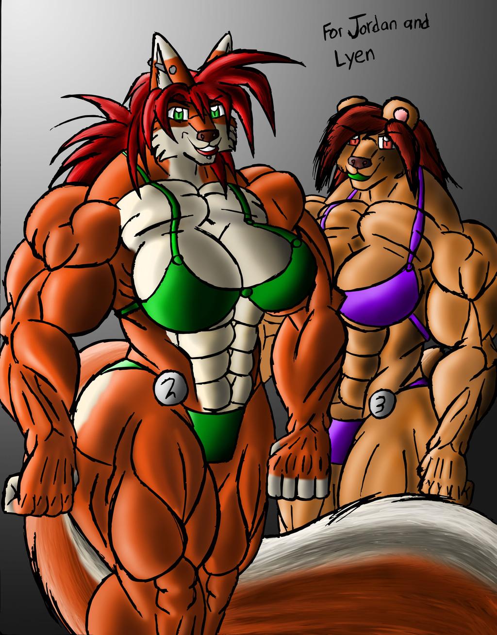 Bodybuilders Jordan and Lyen