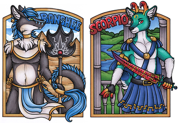 Banshee and Scorpio Conbadges