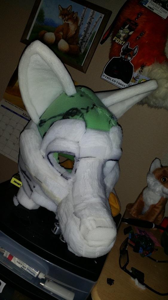 Most recent image: WIP Pixel Fursuit Head