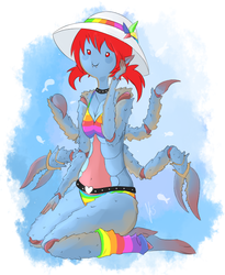 CUTEST CRAB ON THE BEACH - Art By Aazuria