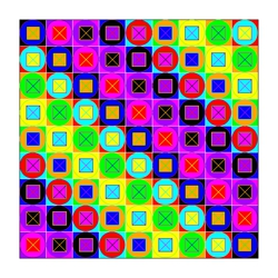 Colors of Circles and Squares