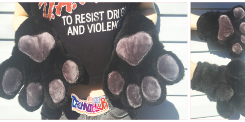 Black and Gray Fursuit Handpaws