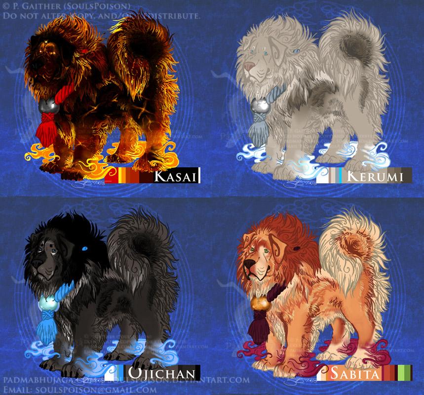 Tibetan Mastiff Inugami Adoptables Set #4 - $5 Each