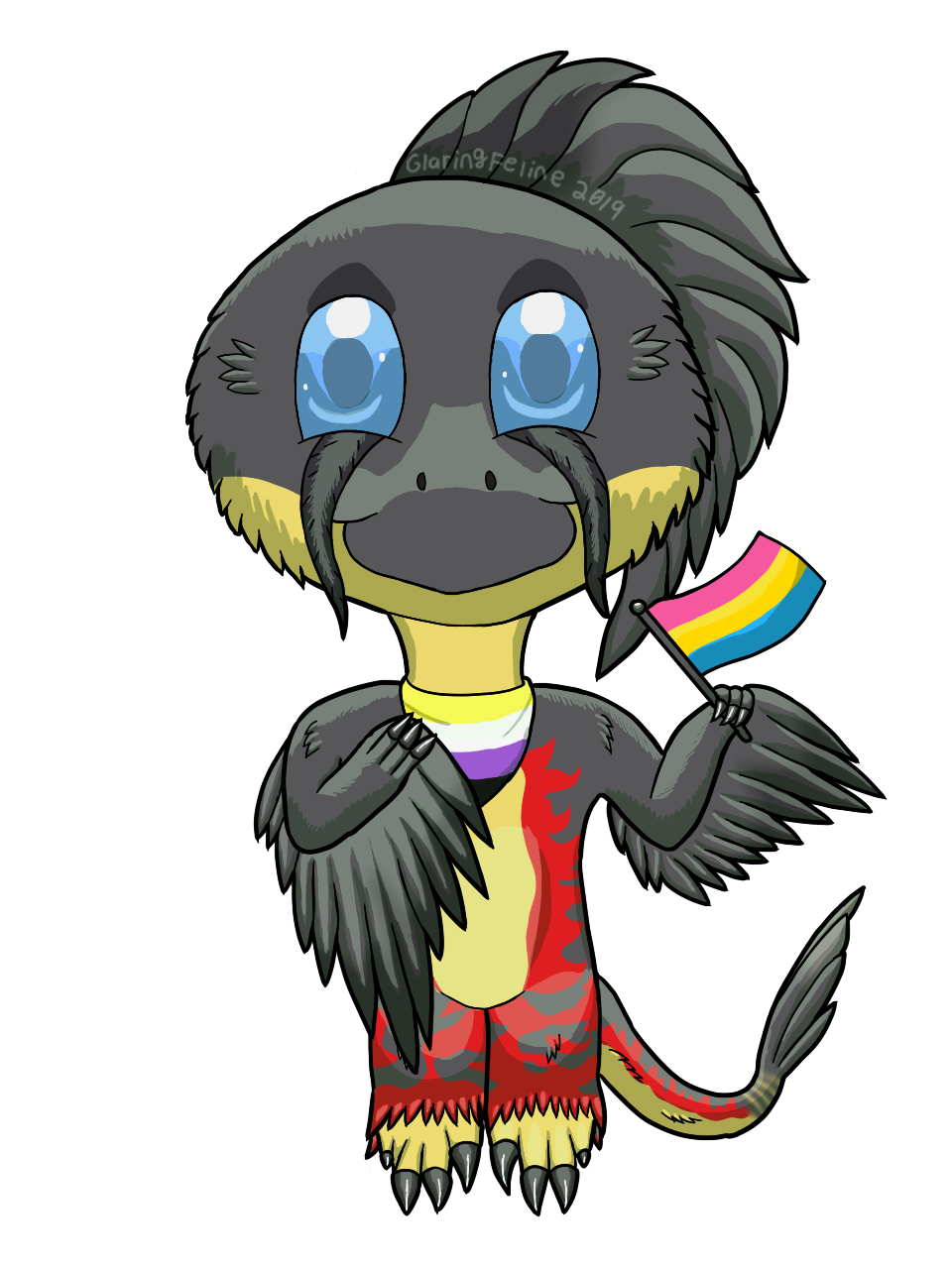 Owlisaurus Pride YCH Chibi