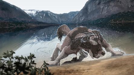 Wet Werewolf by Garoline