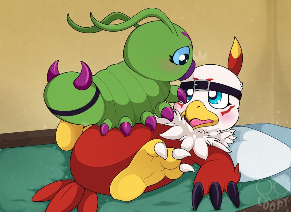 Most recent image: Hawkmon x Wormmon SFW Alt