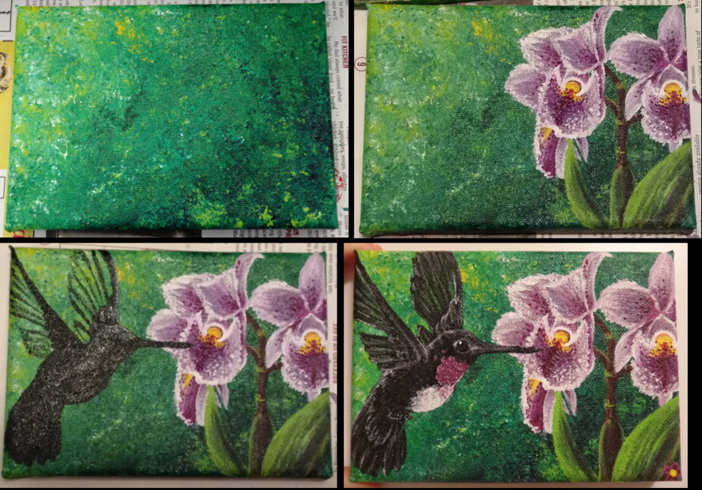 Stages of Acrylic Hummingbird Painting