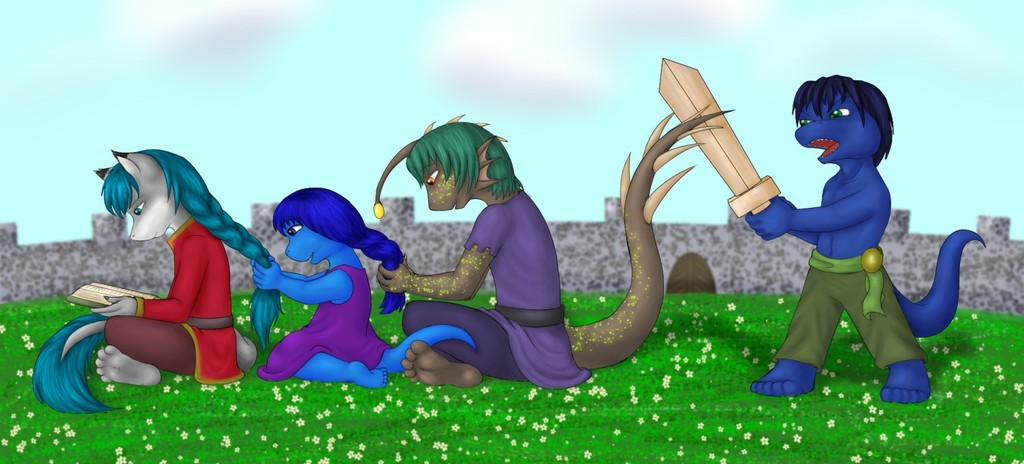 braiding hair and fighting a tail