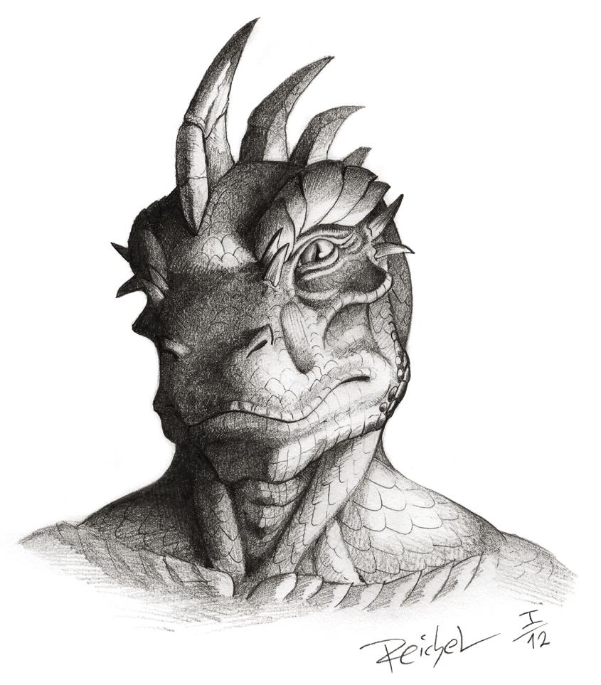 Reptile Cynrik - Pencil Portrait