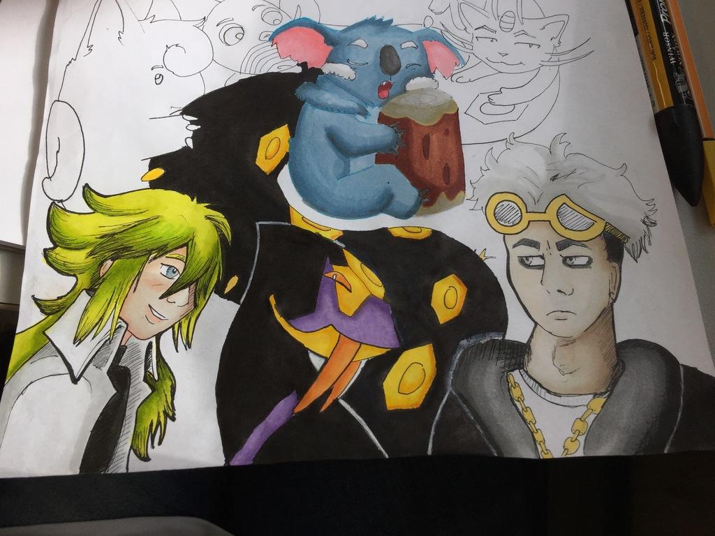 Pokémon sheet [Commission / Wip & Alcohol markers] - Progress