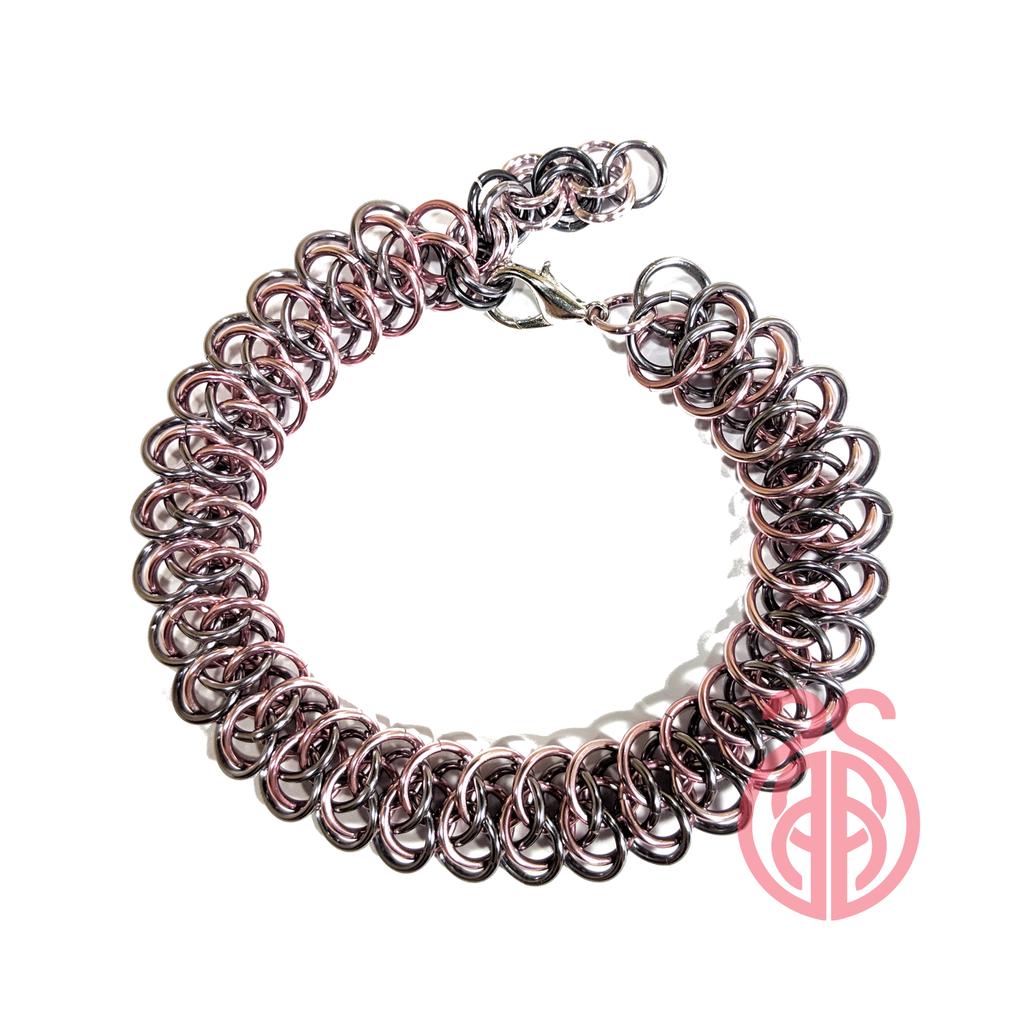 Most recent image: Arkham Chainmail Bracelet - Black Ice & Pink
