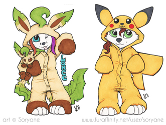 Loree & Ookami - Pokemon onesies badges