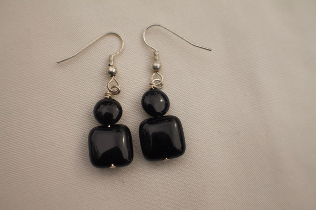 Black Onyx Circle and Square Earrings