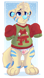 Damp Nabe in his lil' Xmas Sweater