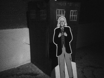 1st doctor and his tardis In black and white