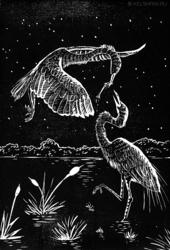 Linocut - Cranes