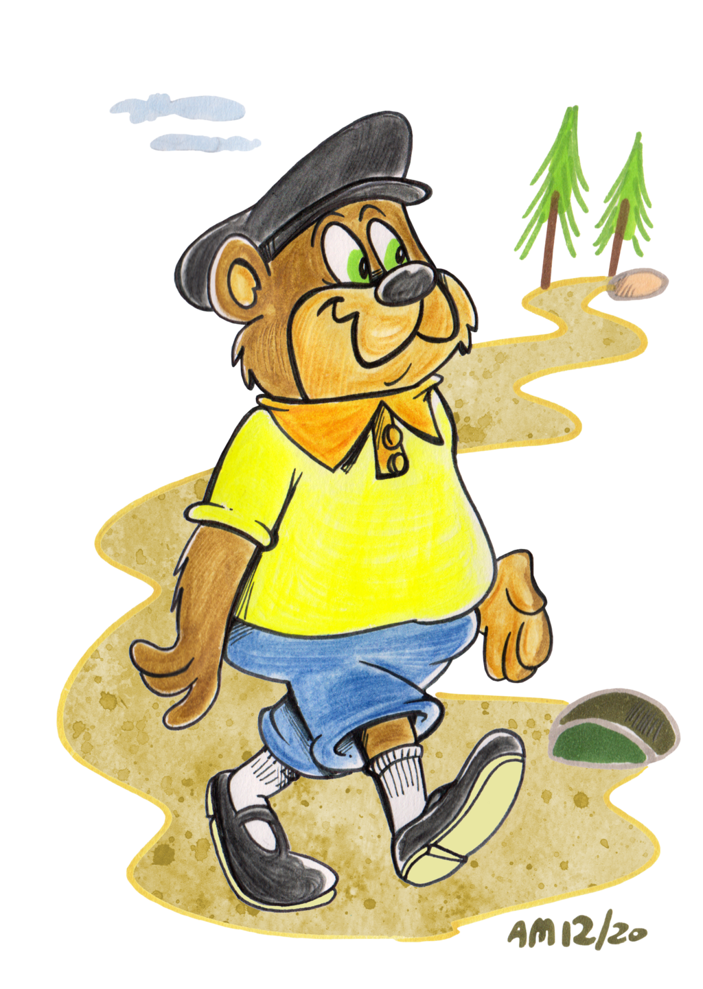 Most recent image: Al Bear walking in the woods