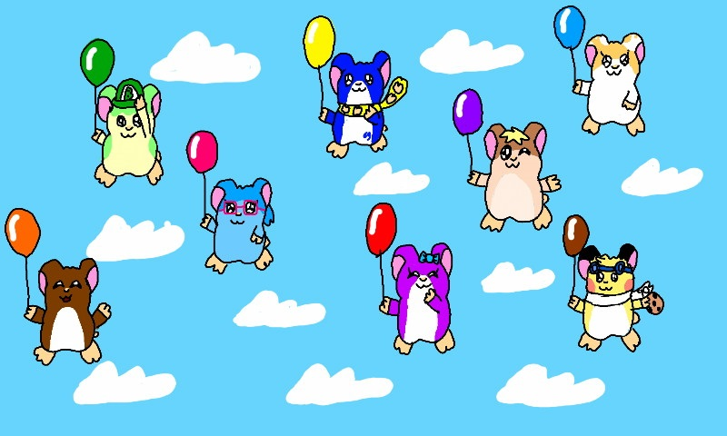 Hamster Pals With Balloons