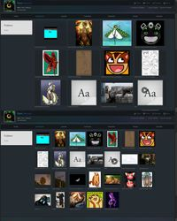Custom Weasyl: Grid view thumbnails