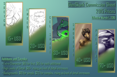 GlenSkunk's NEW 2015 Commission Price Sheet!
