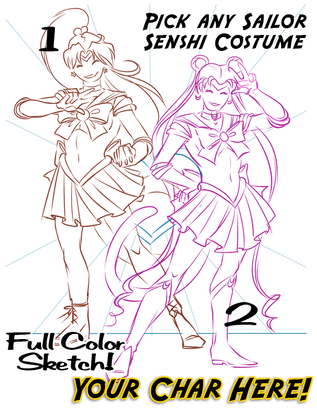 YCH Full Color Sketch Sailor Scouts  Auction