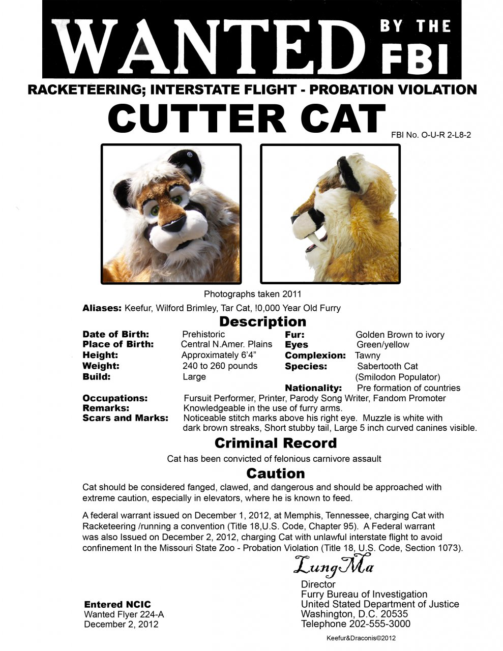 Wanted by the FBI (Furry Bureau of Investigation)
