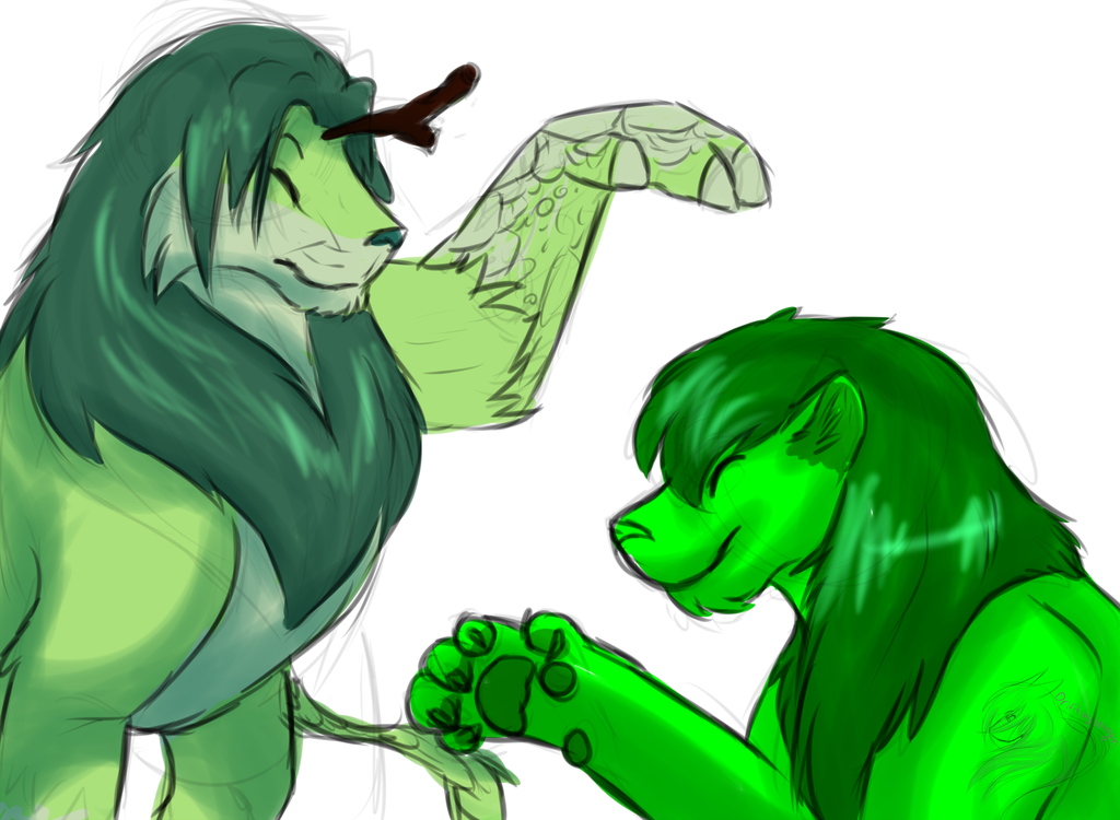 Two green lions