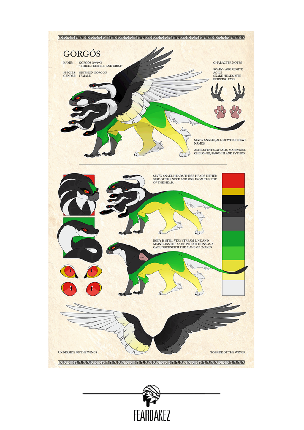 COMMISSION | Gorgon Gryphon Ref | FEARDAKEZ