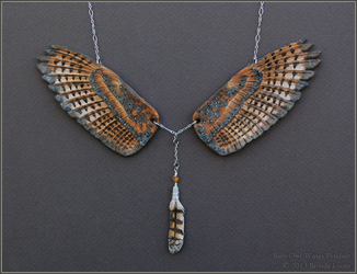 Barn Owl Wings - Leather Pendant
