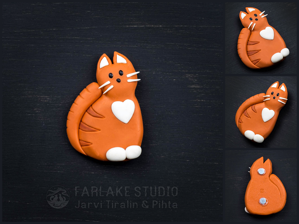 Red cat with white heart, magnet