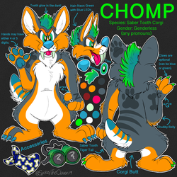 Chomp the Saber Tooth Corgi Reference Sheet