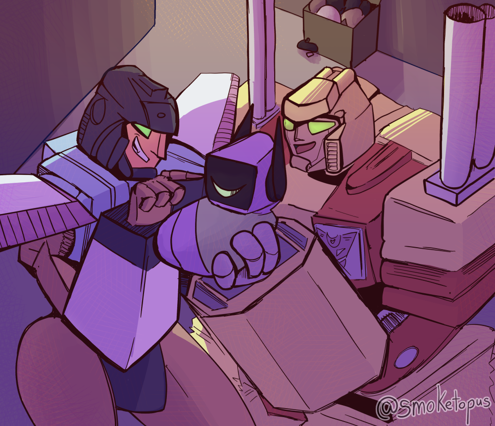 Cyclonus and Demolisher find a Baby in a Dumpster