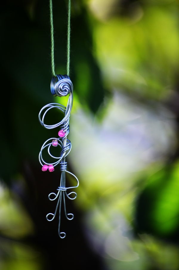 Pink Beads on Wire