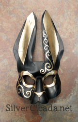 regal leather rabbit mask with gold leaf